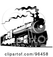 Royalty Free RF Clipart Illustration Of A Black And White Steam Train Traveling Along The Railroad