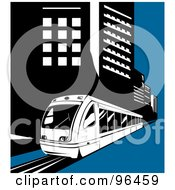 Royalty Free RF Clipart Illustration Of A Light Rail Train Moving Along City Buildings by patrimonio