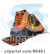 Royalty Free RF Clipart Illustration Of A Red Diesel Train From The Front