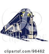 Royalty Free RF Clipart Illustration Of A Blue Steam Engine From A Front Left View