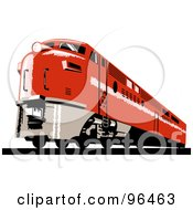 Royalty Free RF Clipart Illustration Of A Red Diesel Train From The Front Right View