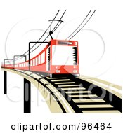 Royalty Free RF Clipart Illustration Of A Red Electric Train On A Raised Track by patrimonio