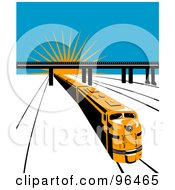 Royalty Free RF Clipart Illustration Of A Yellow Diesel Train Traveling Away From A Sunrise