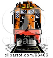 Royalty Free RF Clipart Illustration Of An Orange Diesel Locomotive From The Front