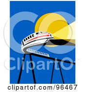 Royalty Free RF Clipart Illustration Of A White Monorail Trail Traveling On A Curving Raised Bridge Against The Sun
