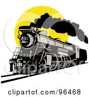 Royalty Free RF Clipart Illustration Of A Steam Engine Locomotive Against A Yellow Sun