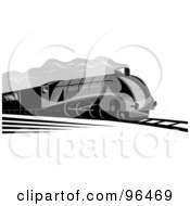 Royalty Free RF Clipart Illustration Of A Vintage Gray Steam Engine Train Speeding Down A Track