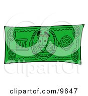 Ice Cream Cone Mascot Cartoon Character On A Dollar Bill