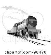 Royalty Free RF Clipart Illustration Of A Grayscale Steam Engine Releasing Steam