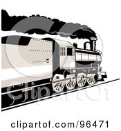 Royalty Free RF Clipart Illustration Of A Black And White Steam Locomotive From A Rear Side Angle