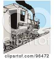 Royalty Free RF Clipart Illustration Of A Grayscale Team Train Over Blue