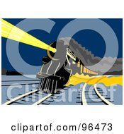 Royalty Free RF Clipart Illustration Of A Steam Engine Shining A Bright Light Through The Night