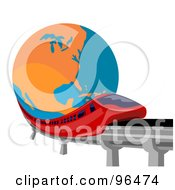 Royalty Free RF Clipart Illustration Of A Red Monorail Speeding Past A Globe by patrimonio