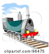 Royalty Free RF Clipart Illustration Of A Green Steam Train Moving Forward
