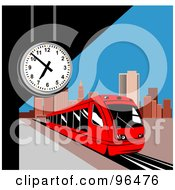 Royalty Free RF Clipart Illustration Of A Red Light Rail Train Passing A Clock At A City Station by patrimonio