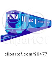 Royalty Free RF Clipart Illustration Of A Blue Passenger Train On A Blue Track
