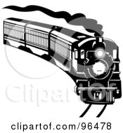 Royalty Free RF Clipart Illustration Of A Black And White Steam Train Coming Around A Curve