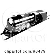 Royalty Free RF Clipart Illustration Of A Black And White Steam Engine Stopping On A Straight Track