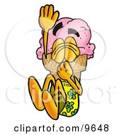 Clipart Picture Of An Ice Cream Cone Mascot Cartoon Character Plugging His Nose While Jumping Into Water