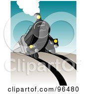 Royalty Free RF Clipart Illustration Of A Steam Engine Moving Forward And Coming Over A Hill