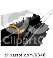 Royalty Free RF Clipart Illustration Of A Rear Overhead View Of A Steam Engine Train