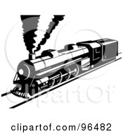 Royalty Free RF Clipart Illustration Of A Black And White Steam Train On A Straight Railway