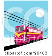 Royalty Free RF Clipart Illustration Of A Red Electric Rail Tram Train On A Blue Day