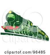 Royalty Free RF Clipart Illustration Of A Green Train Moving Forward