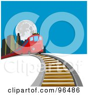 Royalty Free RF Clipart Illustration Of A Red Train Passing Buildings And Coming Over A Hill