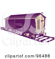 Royalty Free RF Clipart Illustration Of A Purple Box Car Stopped On A Track