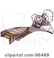Royalty Free RF Clipart Illustration Of A Blue Steam Train Proceeding Over A Hill