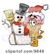 Clipart Picture Of An Ice Cream Cone Mascot Cartoon Character With A Snowman On Christmas by Toons4Biz