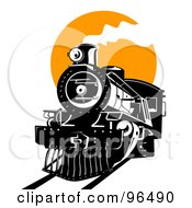 Royalty Free RF Clipart Illustration Of A Black Steam Train Moving Forward Against An Orange Sun
