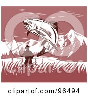 Royalty Free RF Clipart Illustration Of A Leaping Trout Caught On A Fishermans Hook