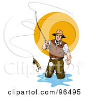 Royalty Free RF Clipart Illustration Of A Fly Fisherman Casting The Bait