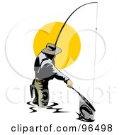Royalty Free RF Clipart Illustration Of A Fisherman Pulling A Fish In With A Net