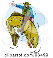 Royalty Free RF Clipart Illustration Of A Fisherman Riding A Trout Like A Cowboy At The Rodeo by patrimonio