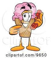Ice Cream Cone Mascot Cartoon Character Holding A Telephone