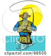 Royalty Free RF Clipart Illustration Of A Rear View Of A Fly Fisherman Casting His Line Against The Sun