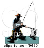 Royalty Free RF Clipart Illustration Of A Wading Fisherman Scooping Up A Fish With A Net