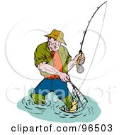 Royalty Free RF Clipart Illustration Of A Fishing Man Scooping Up A Fish In A Net
