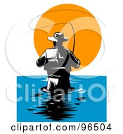 Royalty Free RF Clipart Illustration Of A Rear View Of A Wading Fly Fisherman Against The Sunset