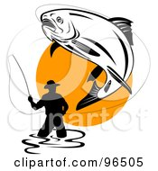 Royalty Free RF Clipart Illustration Of A Large Trout Leaping Into The Air While Being Reeled In By A Wading Fisherman by patrimonio