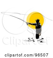 Royalty Free RF Clipart Illustration Of A Fly Fisherman Silhouetted Against The Sun Casting His Line