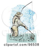 Royalty Free RF Clipart Illustration Of A Sketched Fisherman Scooping Up A Fish In A Net