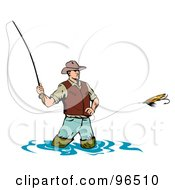 Royalty Free RF Clipart Illustration Of A Wading Fly Fishing Man Casting His Line