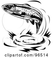 Royalty Free RF Clipart Illustration Of A Black And White Leaping Trout by patrimonio #COLLC96514-0113