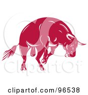Royalty Free RF Clipart Illustration Of A Jumping Angry Red Bull