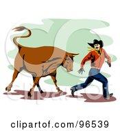 Poster, Art Print Of Rodeo Bull Chasing A Running Cowboy