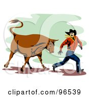 Royalty Free RF Clipart Illustration Of A Rodeo Bull Chasing A Running Cowboy